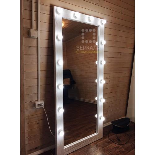 Гримерное зеркало с лампочками белое 180х80 из массива сосны